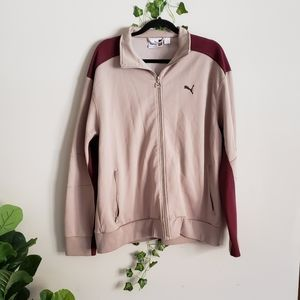 Puma Mens Burgundy Brown Zip Sports Jacket
